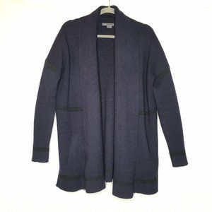 Vince. Cashmere Wool Sweater Coat Navy Blue Stripe